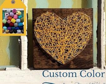 String Art Heart, Yellow String Art Heart, Custom String Art, String Art Sign, Small String Heart, 3D Wall Art, Gallery Wall Art, Wood Heart