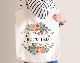 Personalized Premium Tote Bag | Bridesmaid Tote Bag | Bridesmaid Gift | Natural Floral Wreath | Monogram Tote Bag | Gift For Her