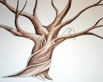 Wedding Guest Book Tree fingerprint tree handpainted custom rustic wide branches
