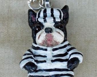 Folk Art Vintage Nostaglic Boston Terrier Dog Pendant Black and White Jail Stripes Surrealism Jewelry