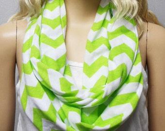 LIME Green  & White Chevron Print  Infinity Scarf  Soft Jersey Knit