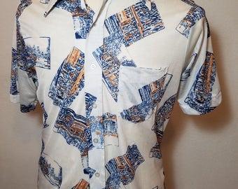 FREE  SHIPPING  1970 Abstract Nylon Shirt