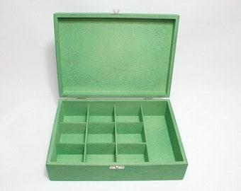 10 Compartments Wooden Tea Box / Green Box / Wooden Keepsake Box / Jewelry Box / Collection Box / Personalized Box Option / Tea Organizer