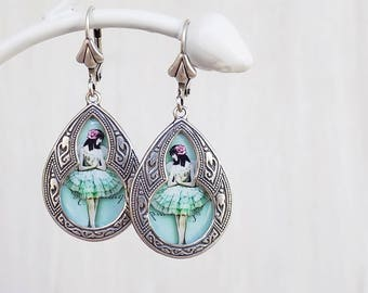 Mint Green Earrings, Ballet Earrings, Ballet Jewelry, Ballerina Earrings, Shabby Mint, Shabby Pink, light earrings, gift woman, gift girl