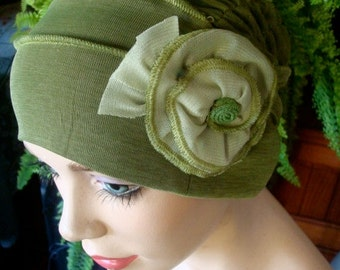 womens bathing cap  sage green slouchy lycra Hat with  flower Chemo Headwear for women