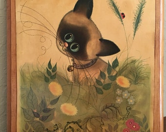 Vintage 60s George Buckett Big Eye Siamese Cat Print Decoupage on Wood Art Kitsch
