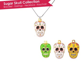 Sugar Skull Necklace- Skull Necklace- Calavera Necklace- Dia De Los Muertos Necklace- Day of the Dead Necklace