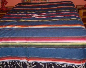 Vintage Mexican Serape Saltillo Textile Woven Blanket Rug 52 x 84 Hot Rod