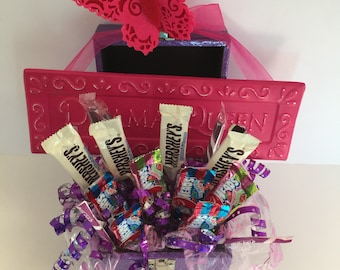 Cute Pink and Purple Candy Bouquet with Sign/Metal Box