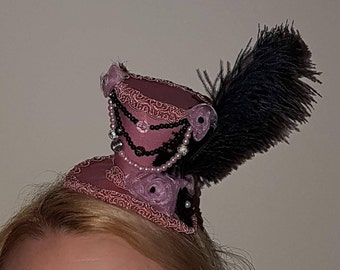 Steampunk Pink and Black top hat fascinator