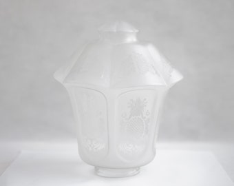 Globe light fixture, frosted glass, glass, patterned glass Lampshade, vintage Lantern glass, hanging, ceiling lamp, frosted glass globe