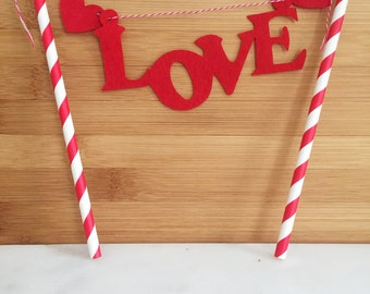 Love Red and White Straw Cake Topper