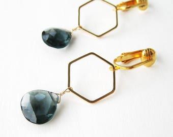 Gold and Dark Blue Clip-on Earrings, Gold Hexagon Modern Clipons, Navy Blue Faceted Teardrop Dangle Clip Non Pierced Earrings, Juno