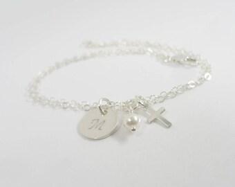 Initial Bracelet with Cross and birthstone - Hand Stamped Jewelry - Birthstone Jewelry - Personalized Bracelet