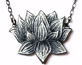Black and White Lotus Flower Necklace