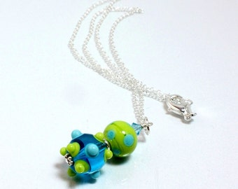 Aqua and Lime Green Lampwork Pendant on Sterling Silver Chain
