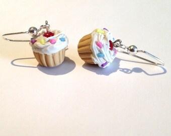 SCENTED Cupcake Earrings with Rainbow Sprinkles