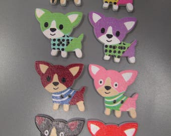 Chihuahua Dog Wooden Buttons X 2