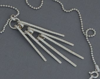Long silver fringe necklace silver tassel necklace layering necklace Art Deco necklace long chain necklace geometric boho artisan jewelry