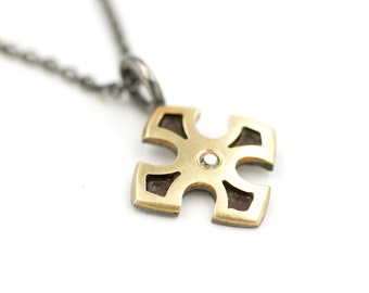 Maltese Cross 14 Karat Gold Grey Diamond Sterling Silver Oxidized Pendant Charm Necklace Symbol Talisman Gray