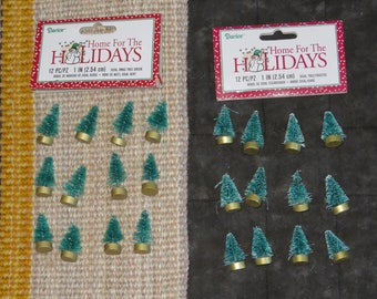 Mini 1 inch sisal trees,craft trees,tiny green or frosted pine trees,12/pkg,Darice,Dioramas,crafts,bottle brush tree,Christmas,doll house