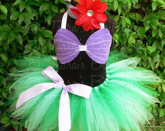 "Little Mermaid Tutu, Girls Tutu, Birthday Tutu, Sewn 11"" Pixie Tutu, Ariel Costume, tutu seashell sea shell bra top headband, Halloween Tutu"