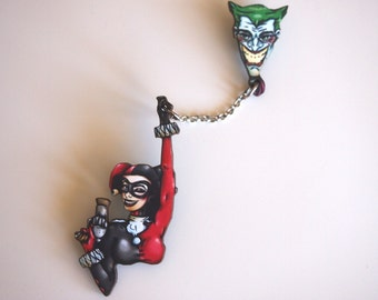 Harley Quinn and Joker Chained 2 Part Laser Cut Wood Brooch