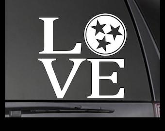 LOVE Tennessee State Tri Star Vinyl Decal - Car/Truck/Window Sticker TN-00003