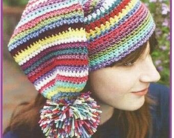 Instant Download - PDF-  A lovely Stripey Pom Pom Hat Crochet Pattern (CA19)
