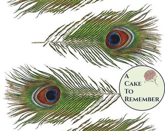 Edible peacock feathers, sheet of four wafer paper feathers to cut out and use for cake decorating or cupcake decorating.