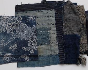Boro fabric remnant, Kasuri, Indigo fabric, Japanese textile, Japanese fabric, vintage Kimono fabric, 20 pieces /A