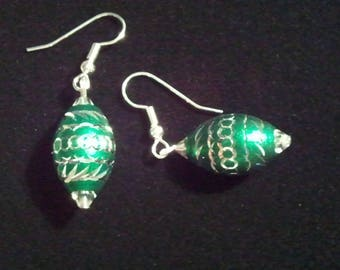 Green Aluminum Laser Cut Bead and Crystal Handcrafted Dangle earrings