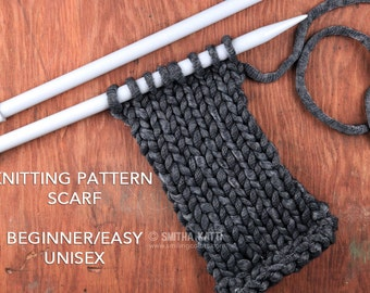 Knitting Pattern Scarf, Easy Knitting Patterns, Free knitting pattern, DIY Scarf, Knit scarf men pattern, Instant download pdf