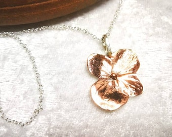 Hydrangea Flower pendant. Sterling Silver. Rose gold plated detail. 3cm/2cm. Free chain and UK delivery.