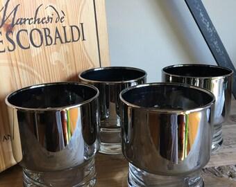 Silver Band Cocktail Glasses Vintage Set 4 / Dorothy Thorpe Style / Hollywood Regency Barware - #F1207