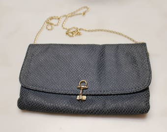 Genuine Leather Navy Clutch Bag/Made in Italy/Gray Blue