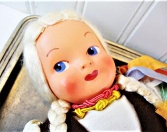 vintage cloth fabric doll folk art costume poland girl with braids 14 inch
