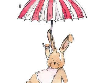 Umbrella Fun , Watercolour and Ink PRINT