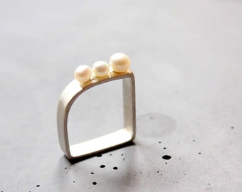 Square shaped Sterling silver ring with three mother of pearls - Custom made ring - Threesome - Wedding