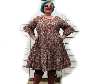 Limited Edition Autumn Blossom Cotton Ruffle dress last ones size 26 & 22