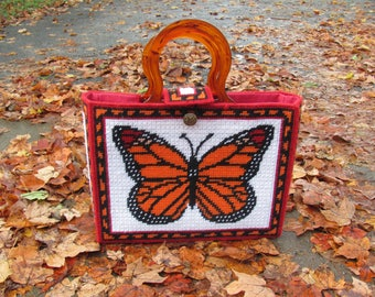 Vintage Retro Hand Crafted Needle Point Handbag MONARCH Butterflies Floral 70s 80s Travel Bag Purse Tapestry Bag