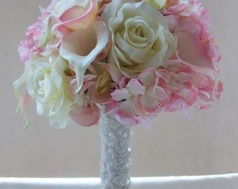 Blush Pink Calla Lily & Hydrangeabouquet, Bridal Bouquet, wedding bouquet