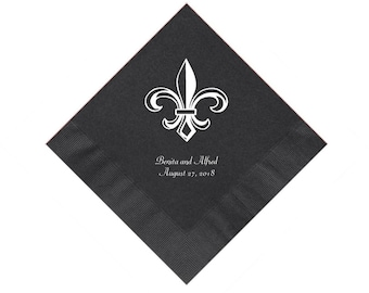 Fleur de Lis Wedding Napkins Personalized Set of 100 Napkins