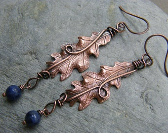 Leaf earrings ~ Dangly earrings ~ Statement earrings ~ Oak leaf earrings ~  Oak leaf jewelry ~ Blue gemstone leaf earrings ~ Long dangly