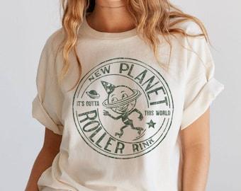 New Planet Roller Rink Tee / 70s t shirt / roller derby shirt / roller skate shirt