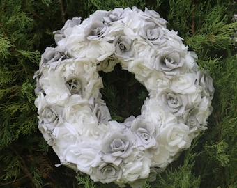 Paper flower wreath, wedding wreath, Rose Wreath, Floral wreath, Paper flowers, Flower wreath, Home decor, White and silver, White christmas