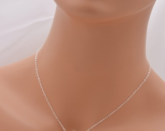 Large Pearl Necklace, 10mm Pearl Necklace, Floating Pearl Necklace, Sterling Silver Necklace, Suspended Pearl Necklace, Bridal Necklace 0306