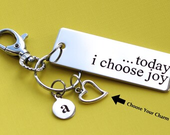Personalized Inspirational Key Chain Today I Choose Joy Stainless Steel Customized with Your Charm & Initial -K394