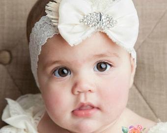 Baby Headband,newborn headband,Baby Headbands,Vintage inspired Ivory Headband, Feather Headband,Christening headband, Flower girl Headband