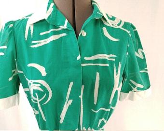 Vintage Shirt Dress - S- M- Green + White Scribbles